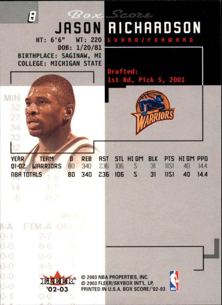 2002-03-Fleer-Box-Score-Basketball-Card-Pick thumbnail 17