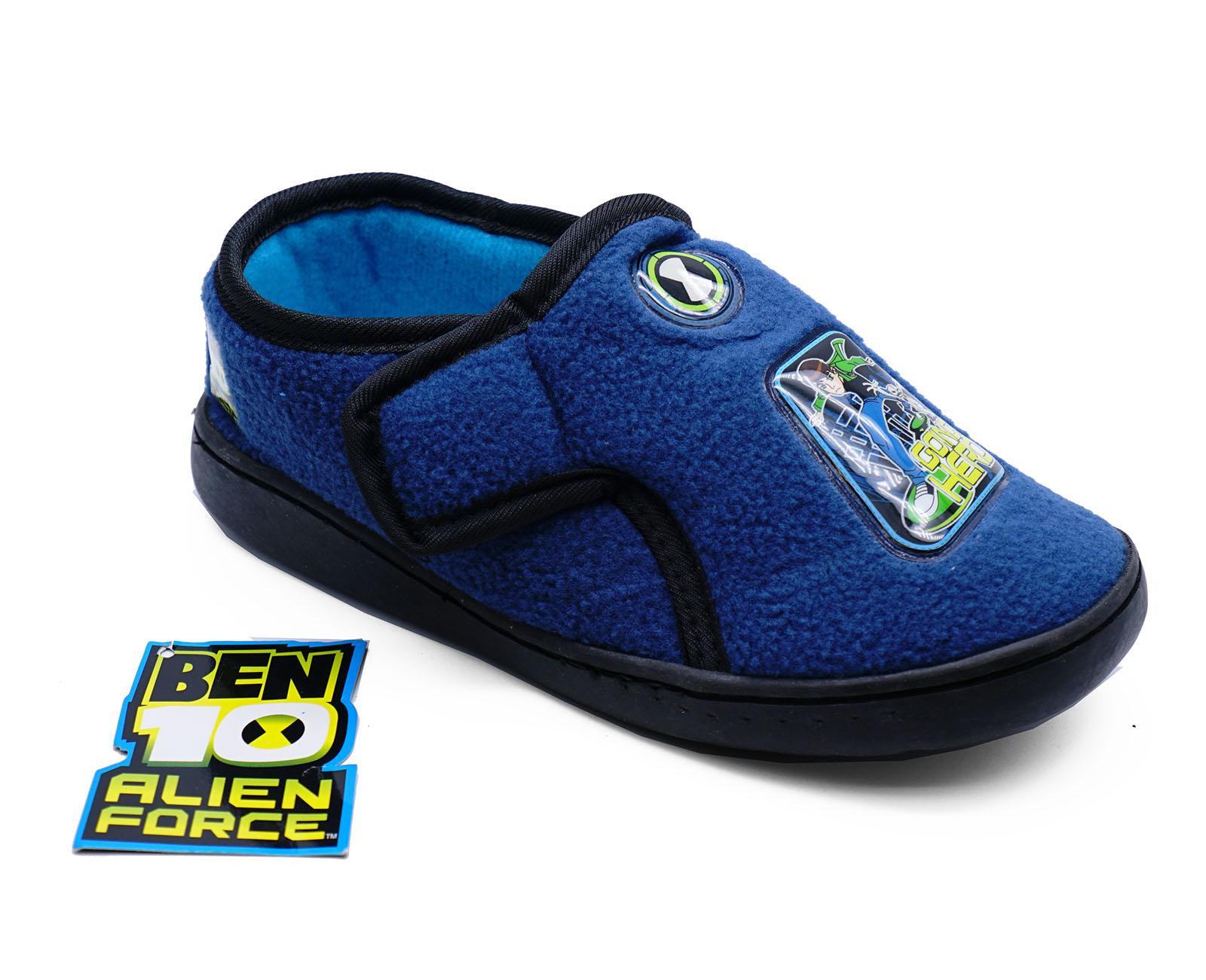Niños Niño Ben 10 AZUL CÓMODO Polar Pantuflas Cálidas Júnior Zapatos UK 9-1
