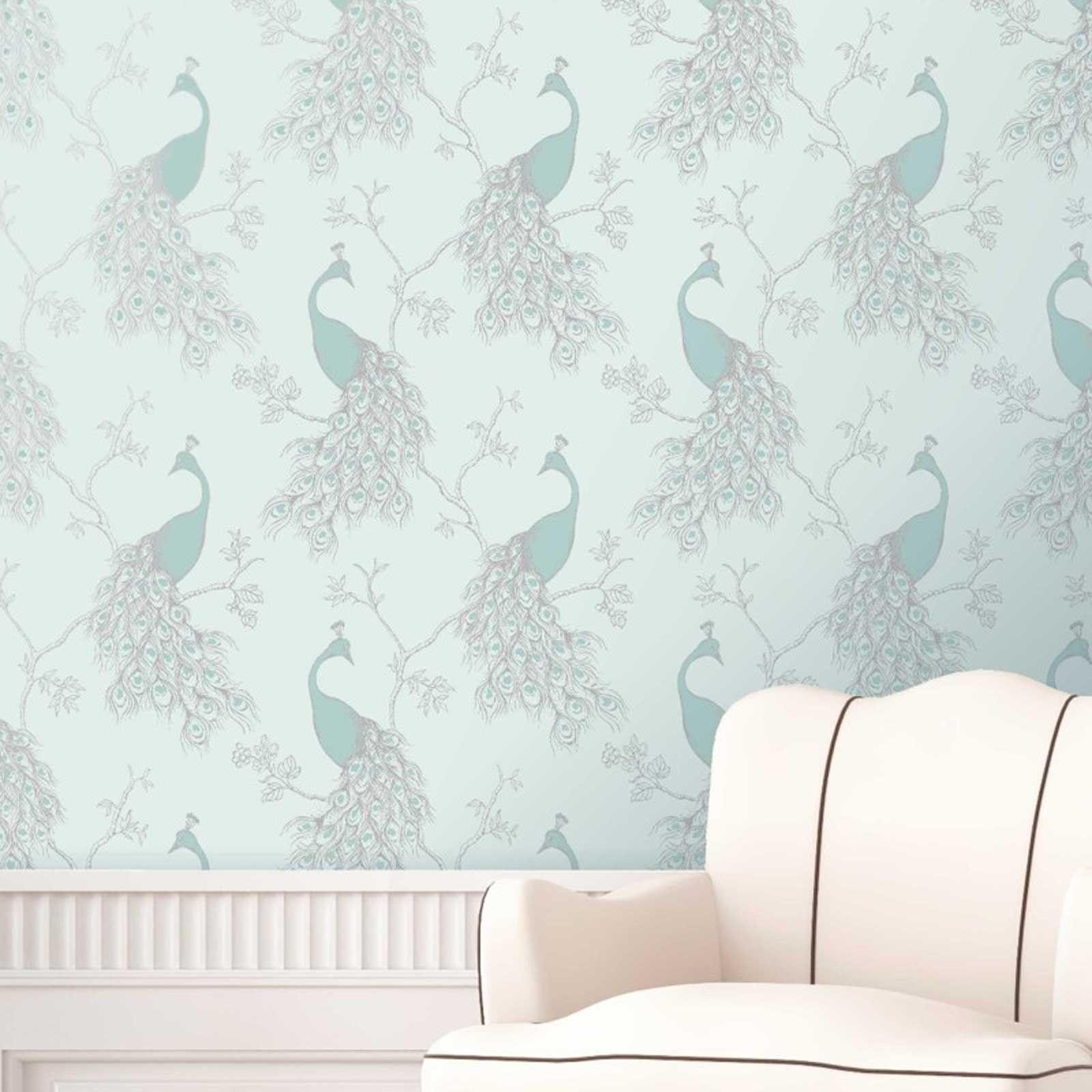 DUCK EGG BLUE TEAL WALLPAPER OWL BIRD PEACOCK SCROLL TREE - Duck egg blue bedroom wallpaper