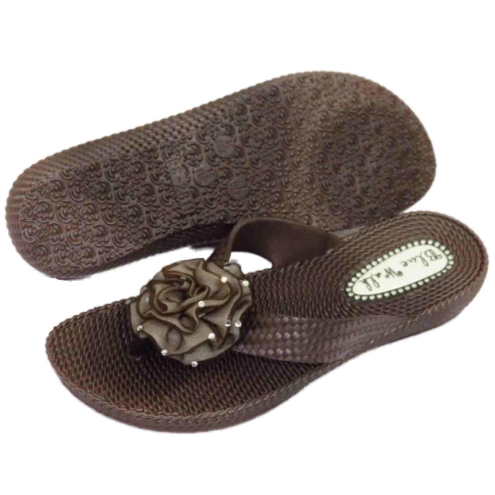 damen flach braun zehensteg riemen sandalen flip flop strand blume ebay. Black Bedroom Furniture Sets. Home Design Ideas