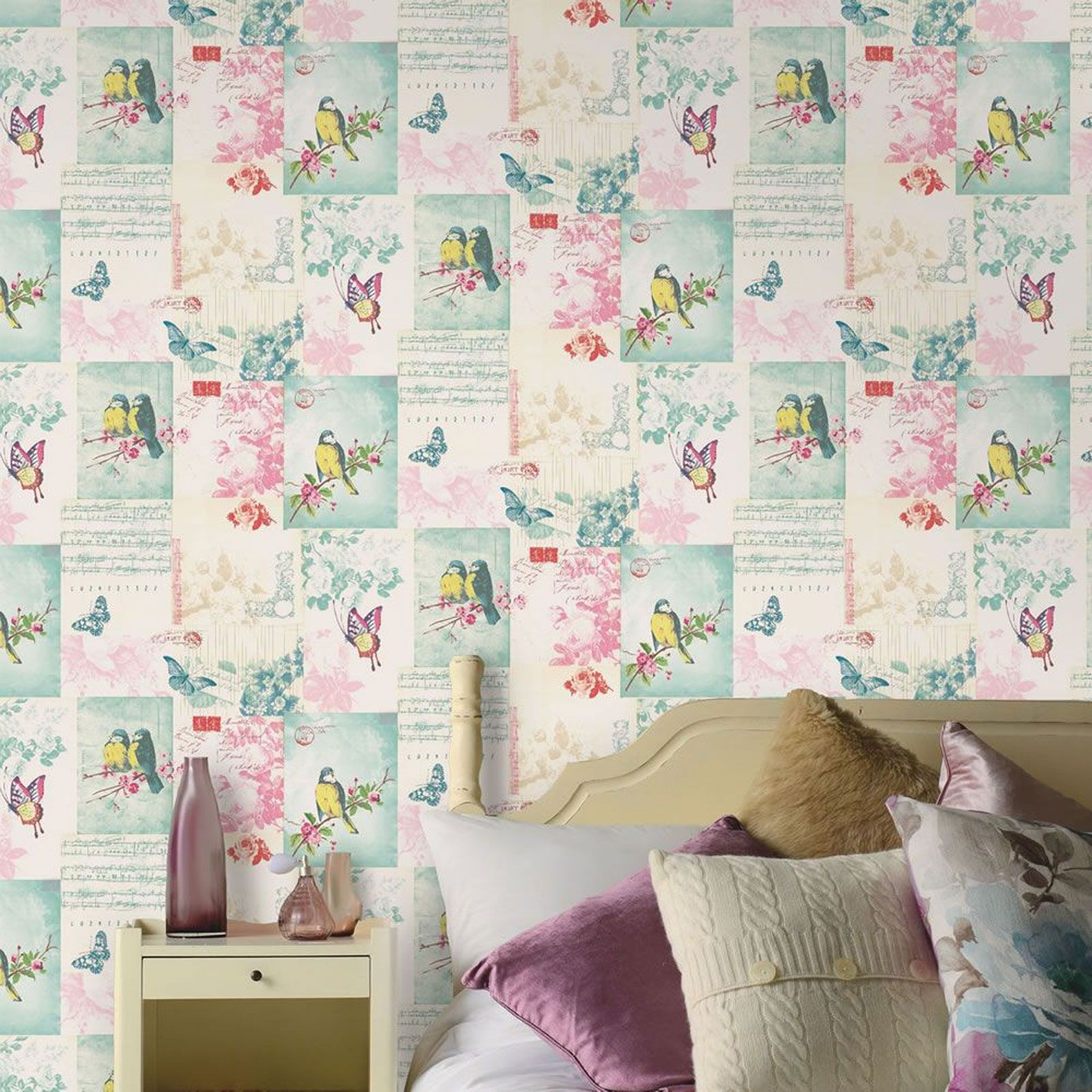 Girls Bedroom Wallpaper Pink Neutral Bedroom Colors For Kids Bedroom Layout Ideas Bedroom Cupboards For Small Rooms: BUTTERFLY WALLPAPER GIRLS BEDROOM DECOR PINK WHITE TEAL