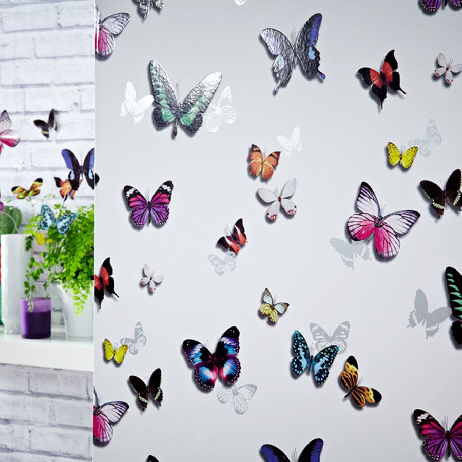 Details about BUTTERFLY WALLPAPER GIRLS BEDROOM DECOR PINK WHITE TEAL  PURPLE GLITTER METALLIC