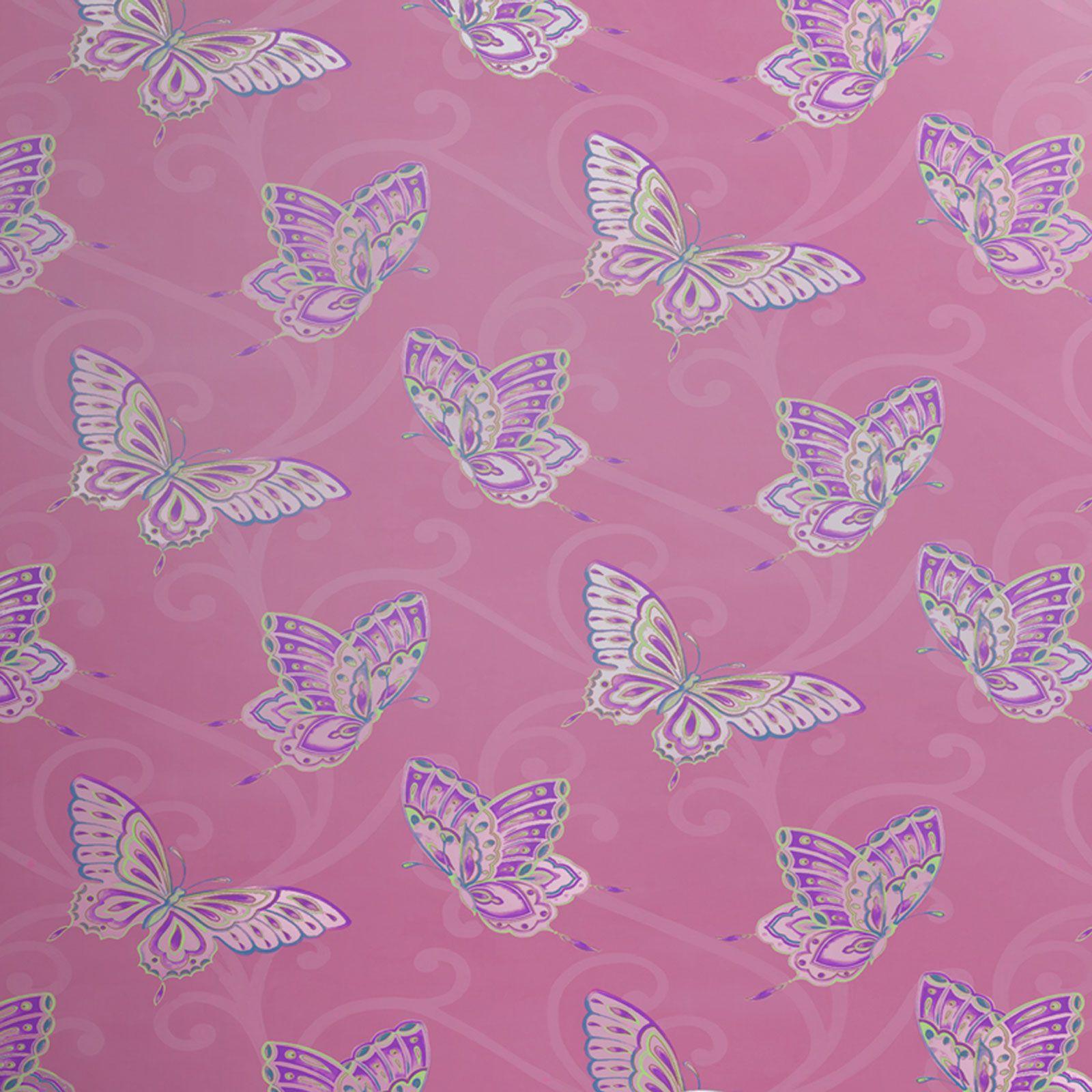 Mädchen Schlafzimmer Schmetterling Tapete In Rosa, Weiß