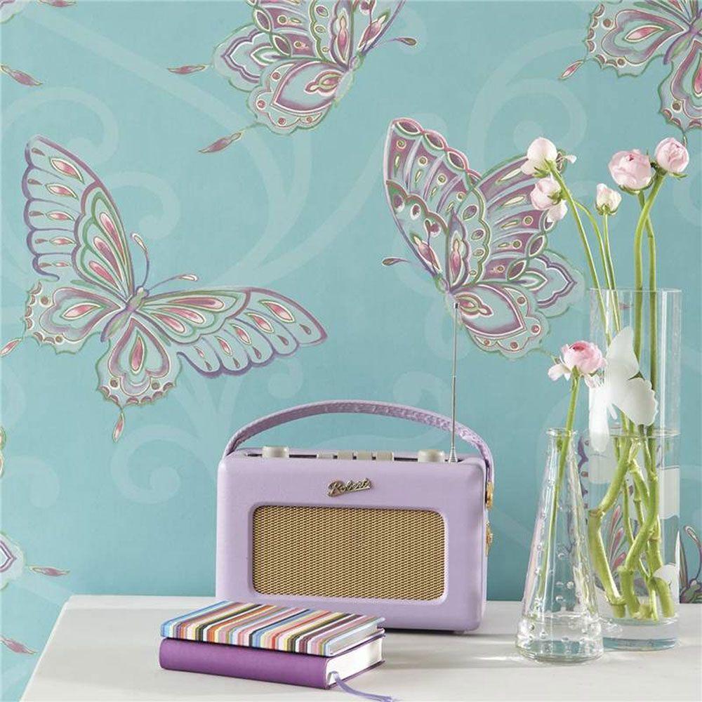 m dchen schlafzimmer schmetterling tapete in rosa wei. Black Bedroom Furniture Sets. Home Design Ideas