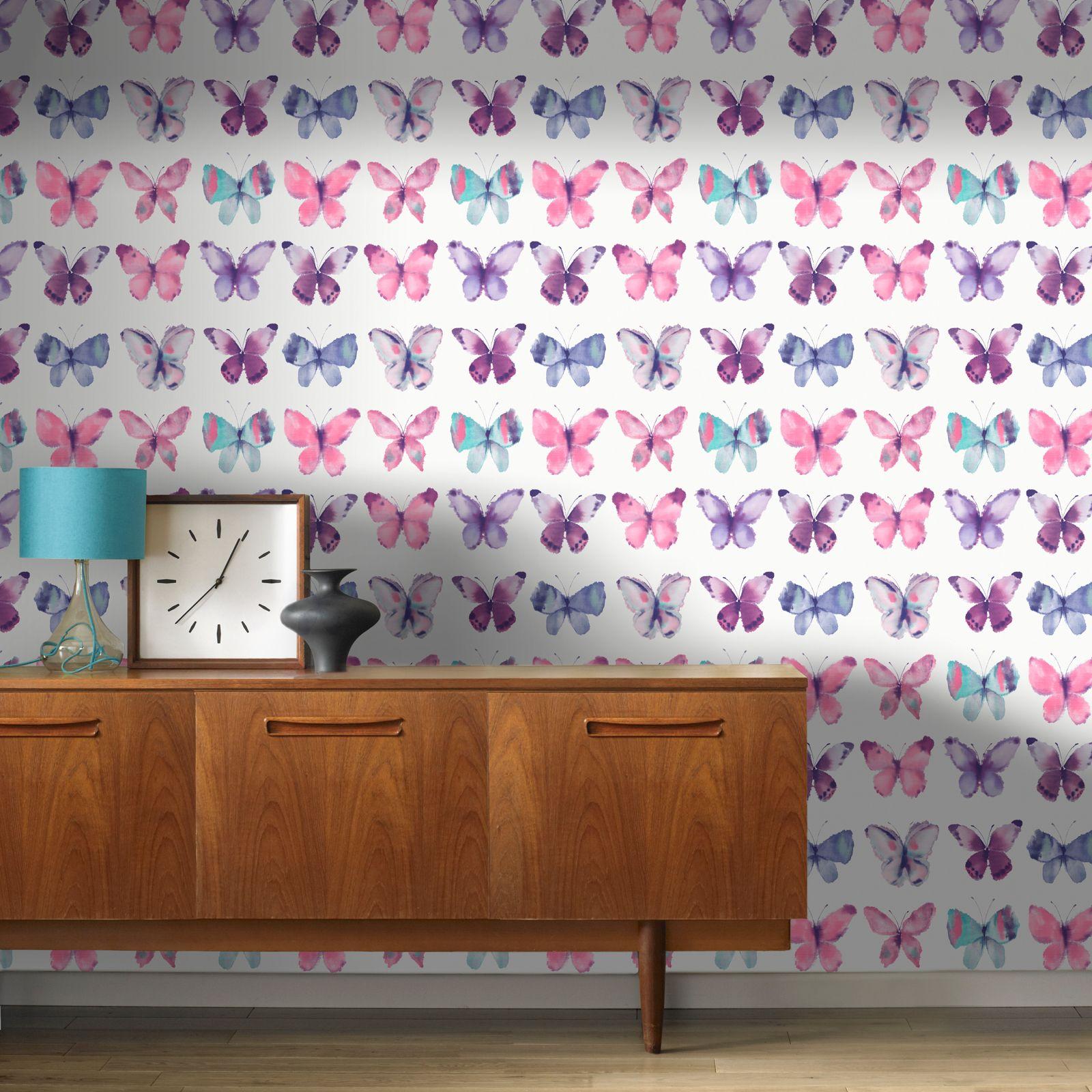 Schmetterling Tapete Mädchen Schlafzimmer Dekor Rosa Weiß Türkis