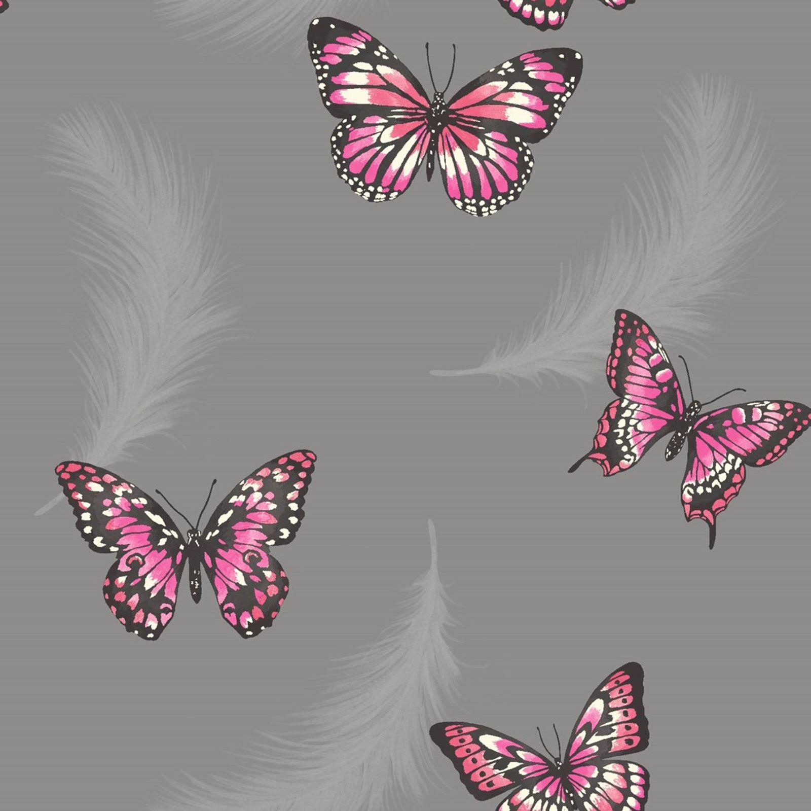 Pink Butterfly Wallpaper: BUTTERFLY WALLPAPER GIRLS BEDROOM DECOR PINK WHITE TEAL