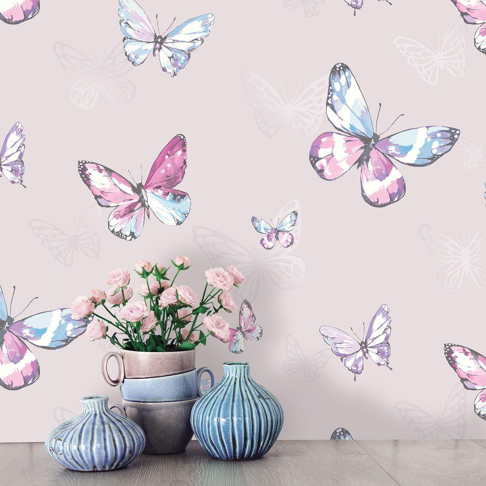 schmetterling tapete m dchen schlafzimmer dekor rosa wei t rkis lila glitter ebay. Black Bedroom Furniture Sets. Home Design Ideas