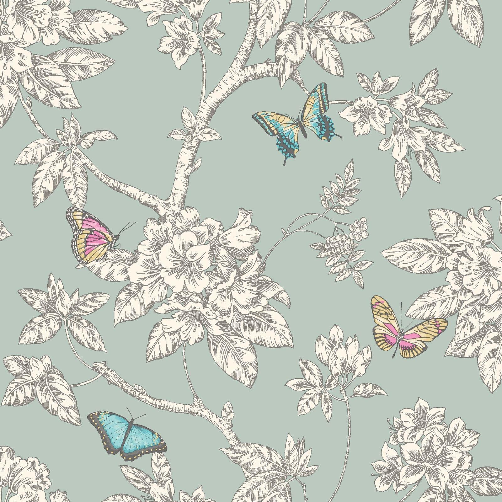 Maedchen Schlafzimmer Schmetterling Tapete In Rosa Weiss Tuerkis