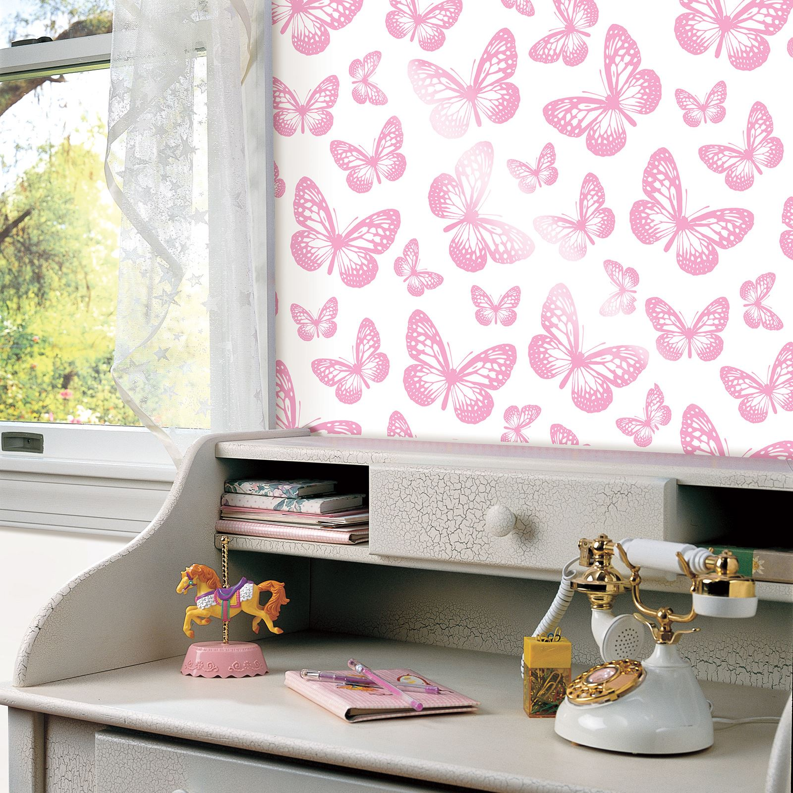 BUTTERFLY WALLPAPER GIRLS BEDROOM DECOR PINK WHITE TEAL PURPLE ...