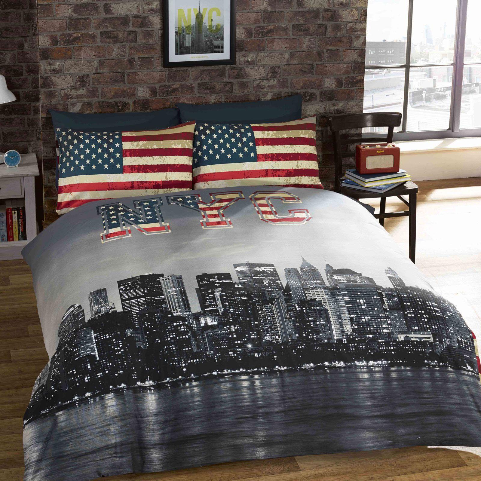 New-York-PROFILO-NYC-citta-bandiera-USA-Set-copripiumino-reversibile