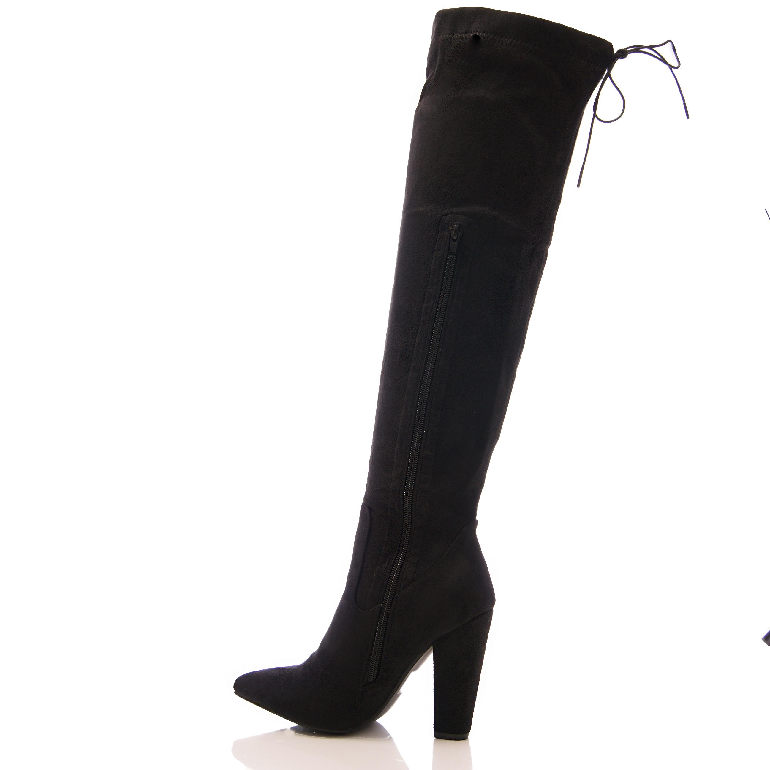 womens the knee boots leg block heel tie
