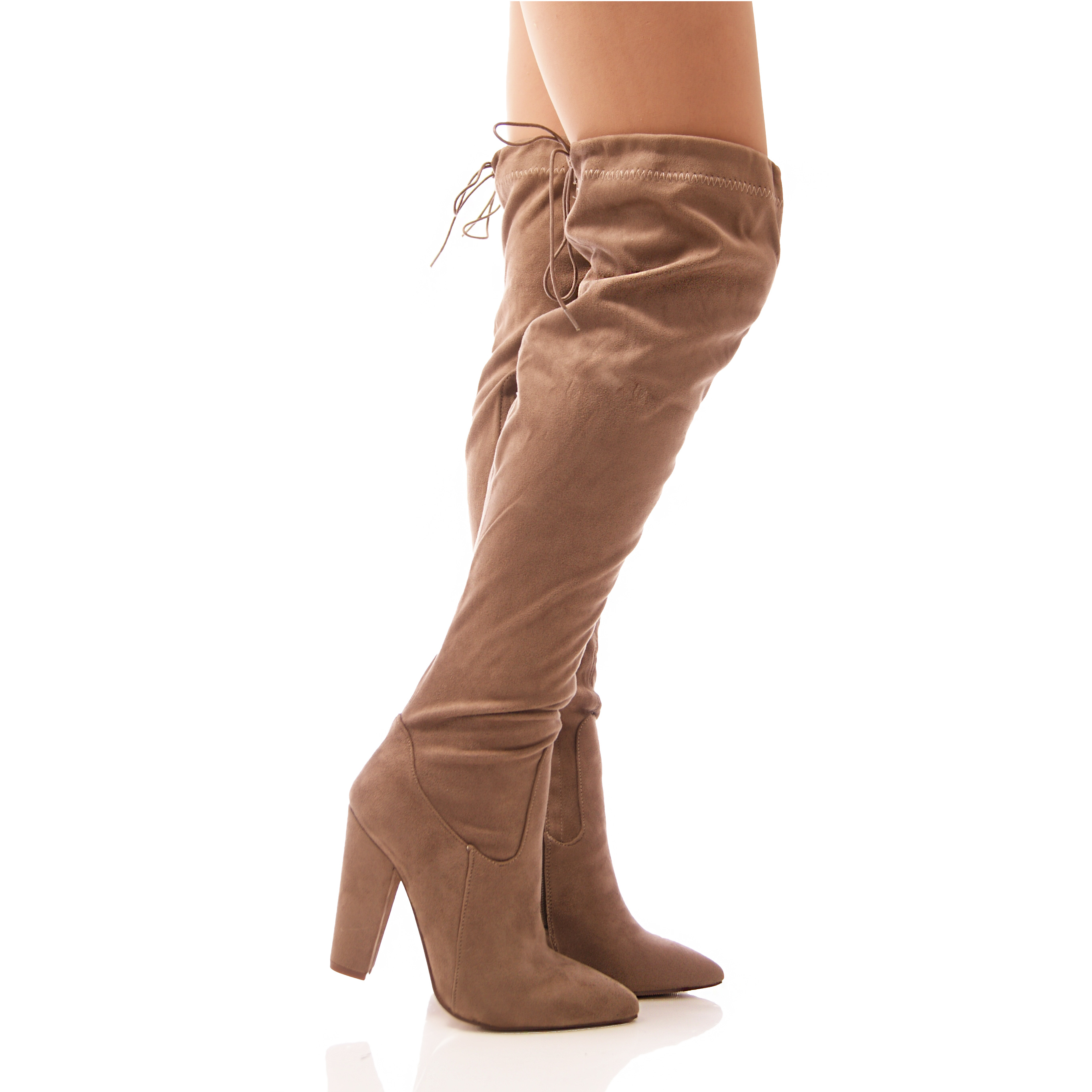 LADIES WOMENS OVER THE KNEE BOOTS LONG LEG BLOCK HEEL TIE