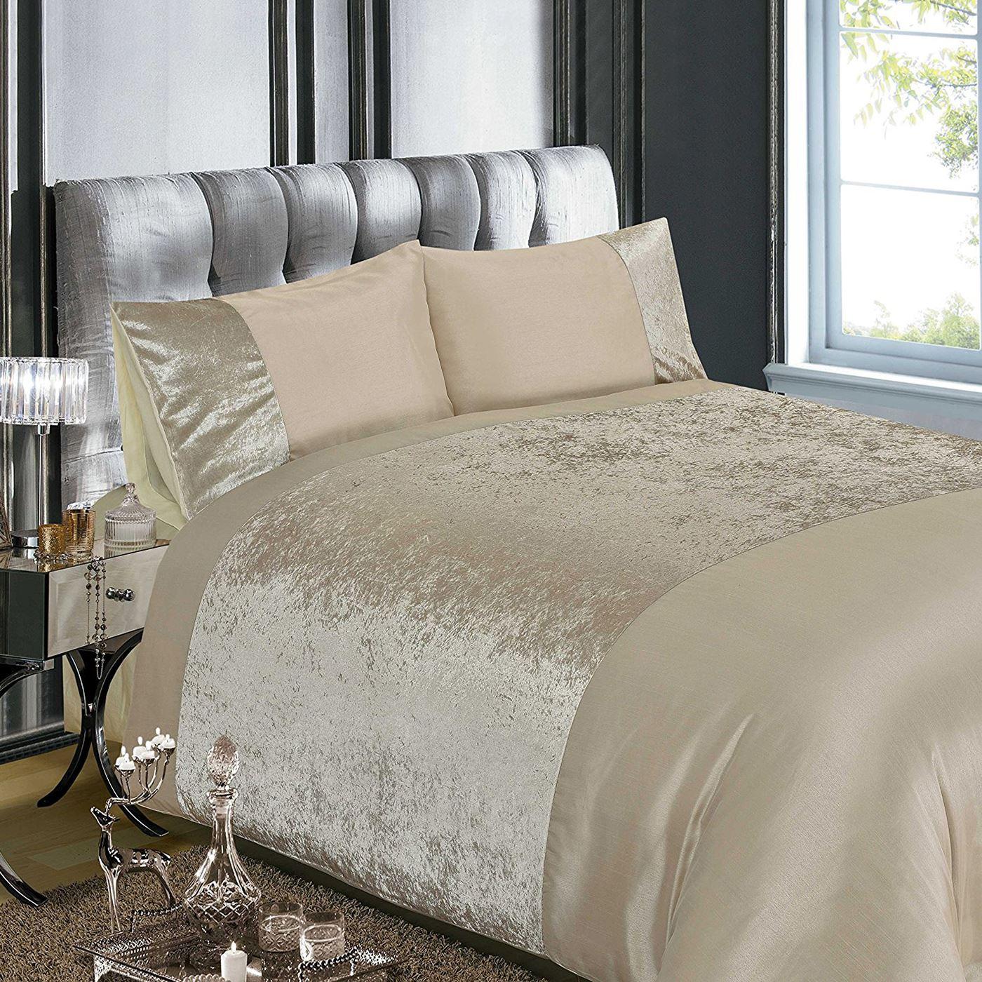 crushed velvet duvet cover set bedding silver natural. Black Bedroom Furniture Sets. Home Design Ideas