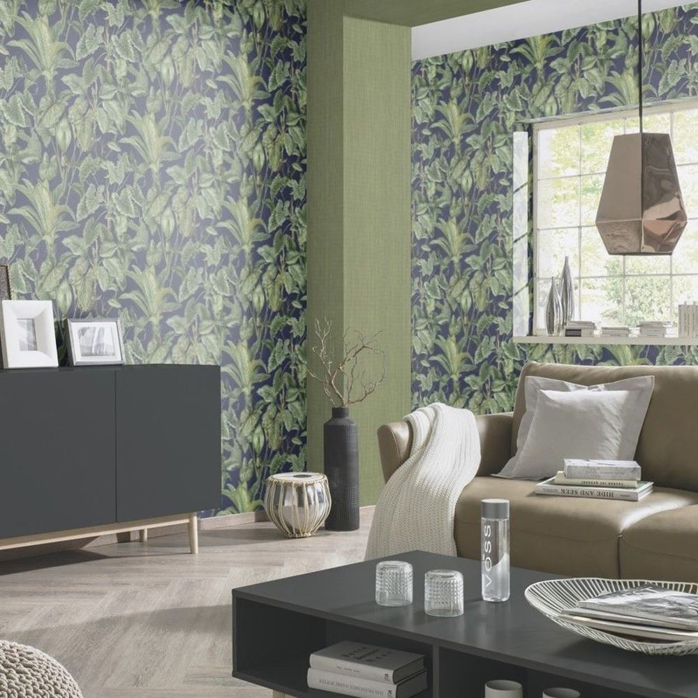 erismann paradiso tropische bl tter muster tapete dschungel bl tter texturiert ebay. Black Bedroom Furniture Sets. Home Design Ideas