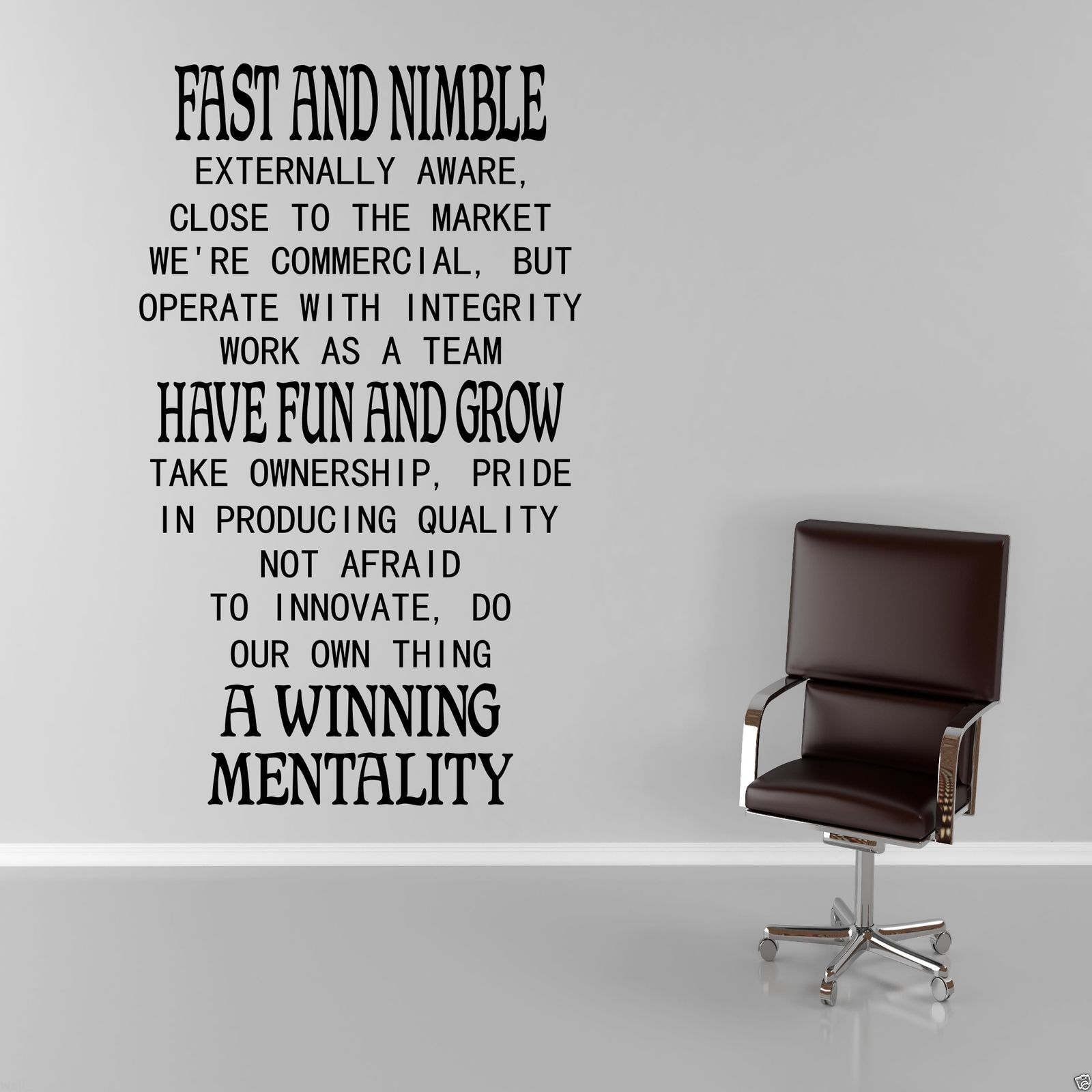 office wall art. FAST-AND-NIMBLE-Work-Office-Wall-Art-Sticker- Office Wall Art