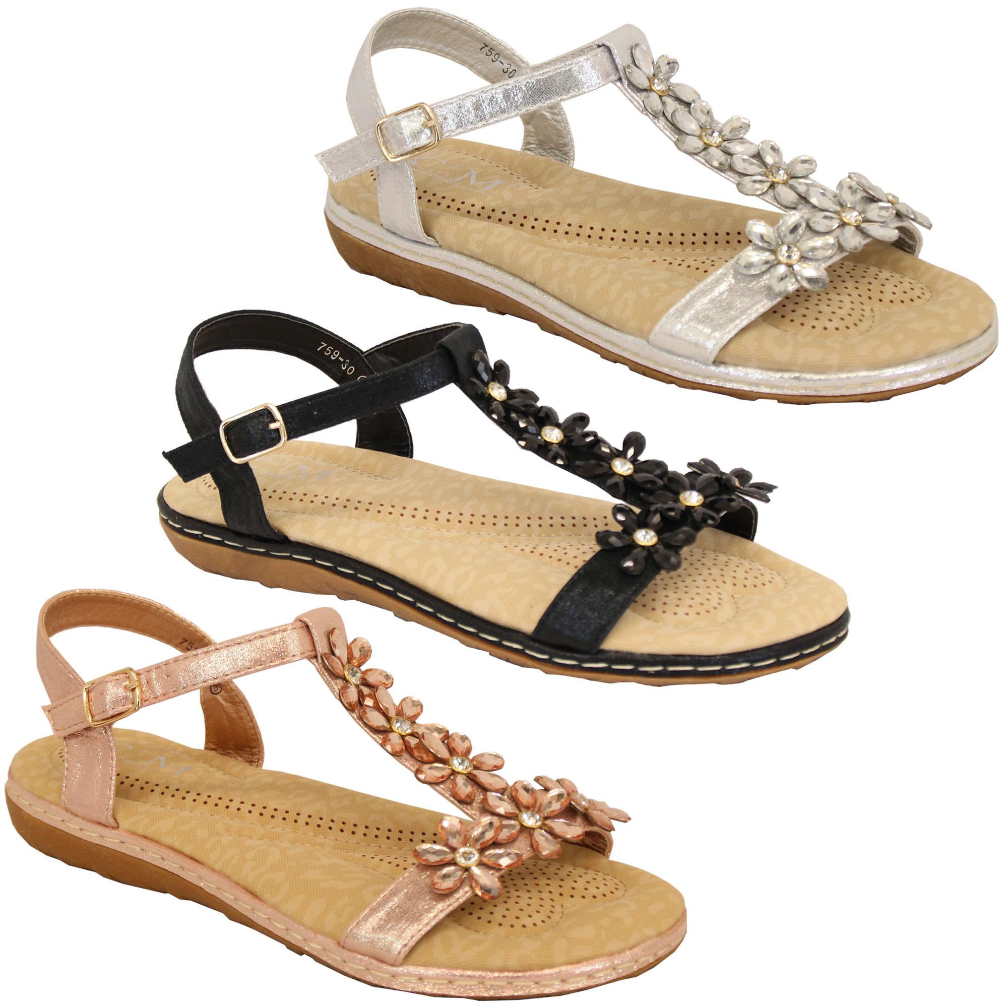 a0c5e8d9b Ladies Flat Sandals Womens Rhinestone Flowers Open Toe Shoes Summer ...