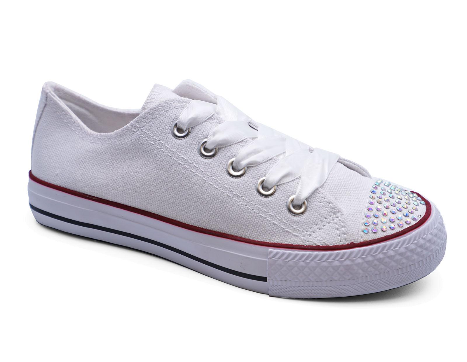 Mädchen Kinder Leinwand weiß Strass zum Schnüren Plimsoll Halbschuhe Schuhe UK