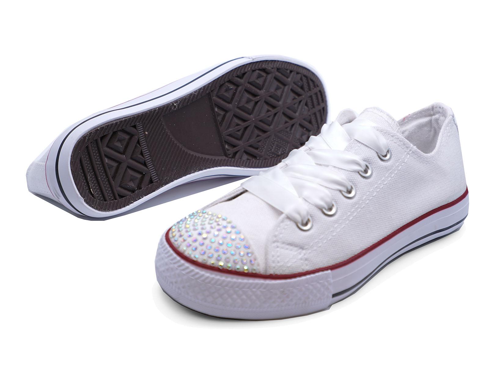 Niños Niñas LONA BLANCA pedrería Con Cordones Zapatillas Planas Zapatos UK 11-3
