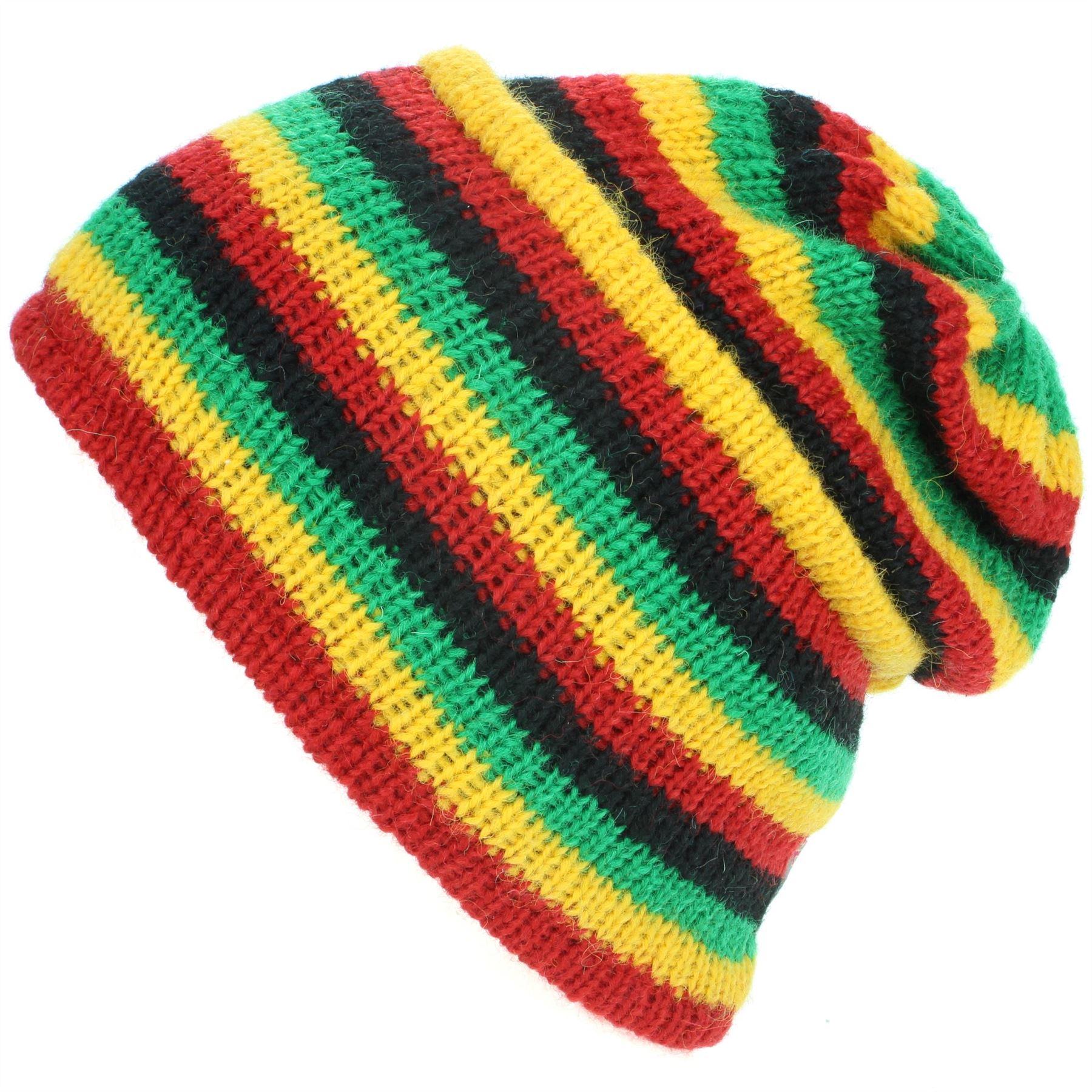 83888edb782 Wool Beanie Hat Cap Warm Winter Fleece Lined LoudElephant RAINBOW Knit Ski