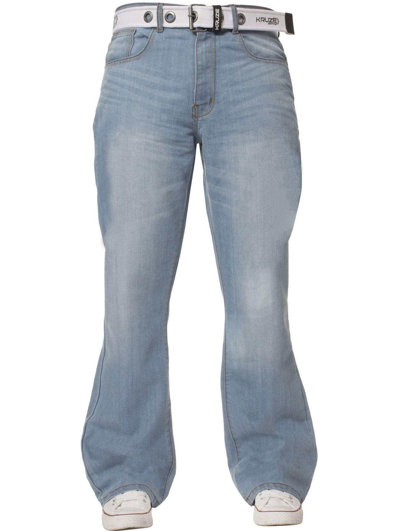Kruze-Herren-Bootcut-Jeans-Ausgestellt-Weites-Bein-Denim-Hose-Gross-Hoch-Koenig Indexbild 12