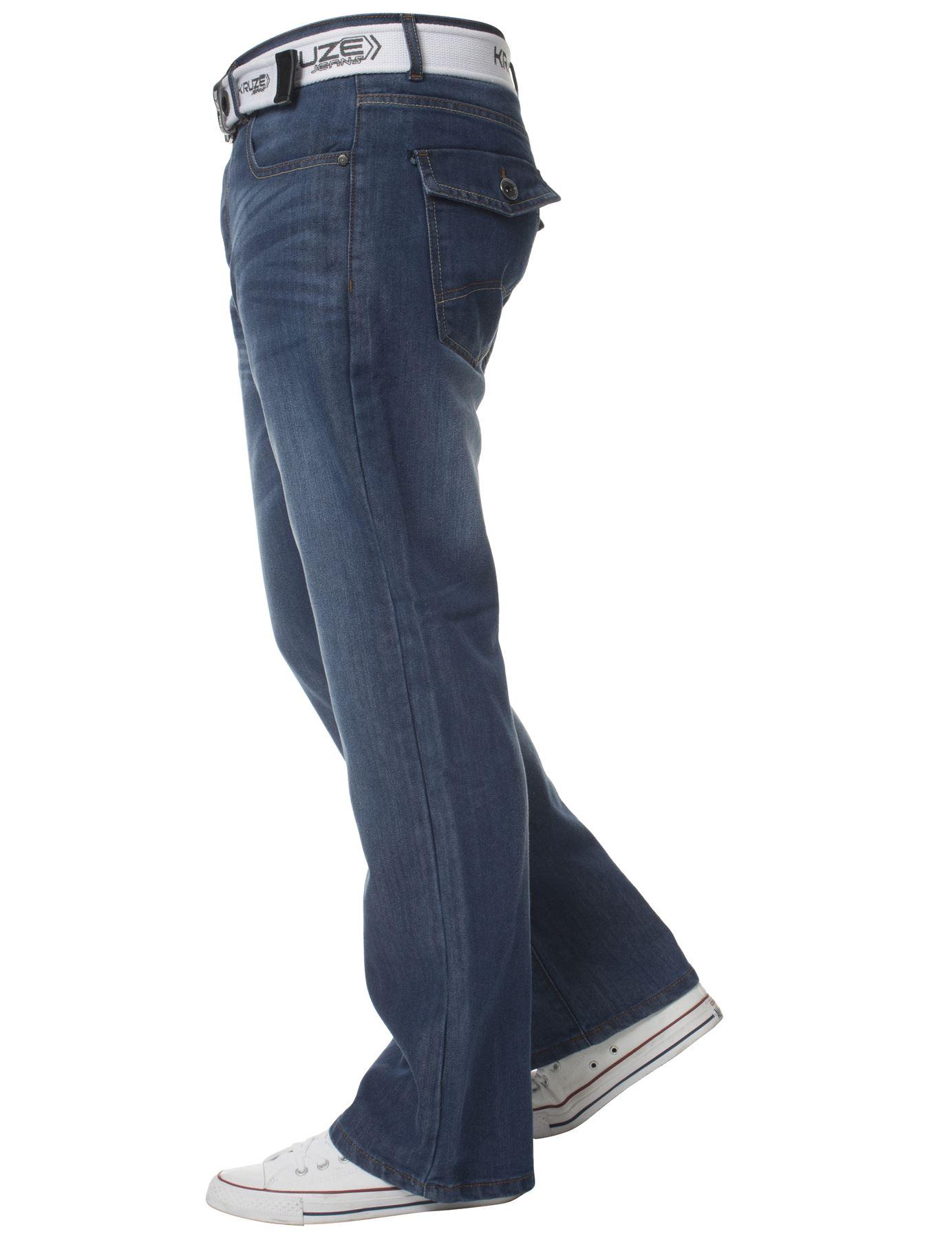 Kruze-Herren-Bootcut-Jeans-Ausgestellt-Weites-Bein-Denim-Hose-Gross-Hoch-Koenig Indexbild 4