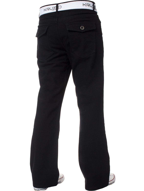 Kruze-Herren-Bootcut-Jeans-Ausgestellt-Weites-Bein-Denim-Hose-Gross-Hoch-Koenig Indexbild 23