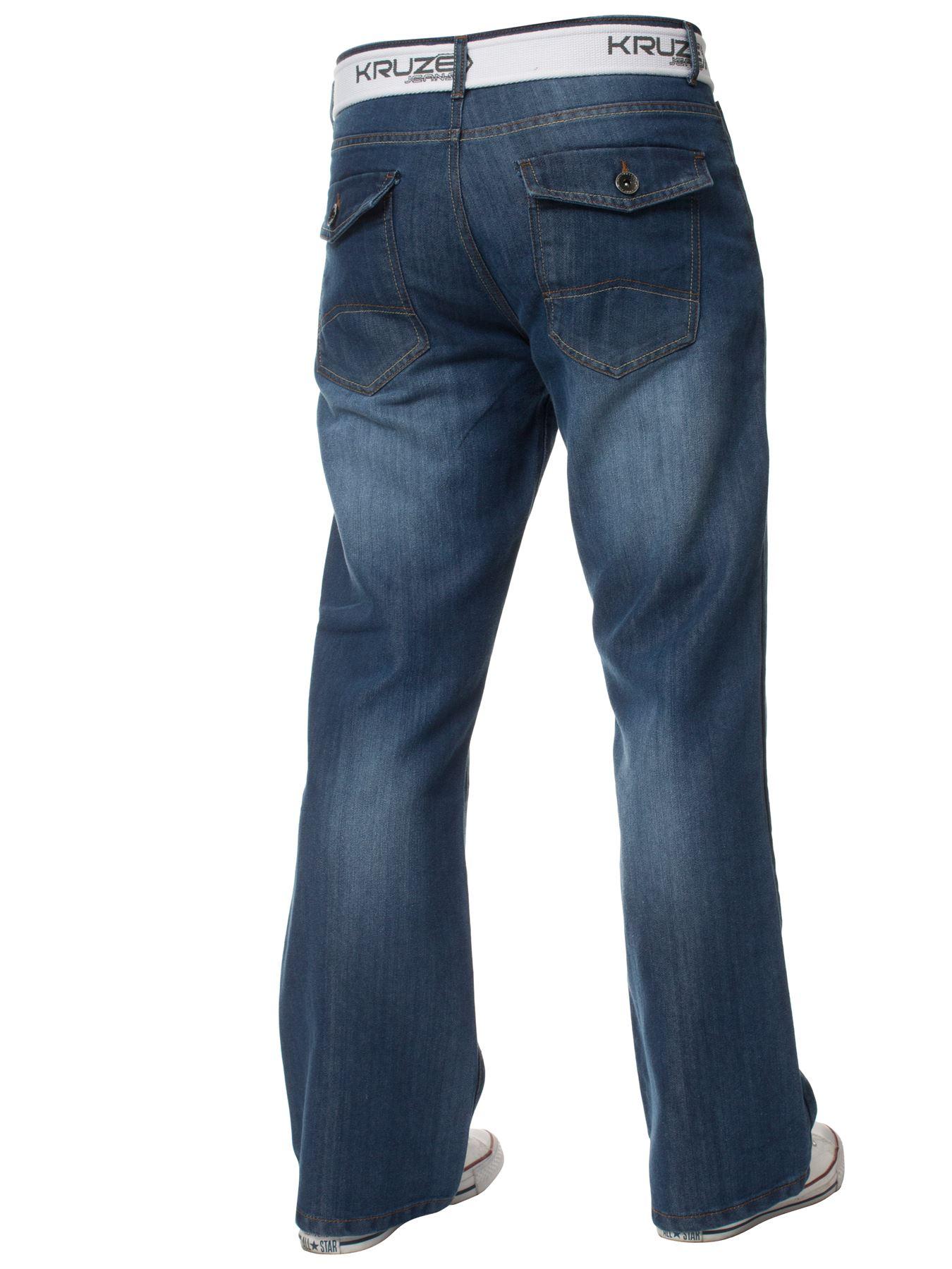 Kruze-Herren-Bootcut-Jeans-Ausgestellt-Weites-Bein-Denim-Hose-Gross-Hoch-Koenig Indexbild 5