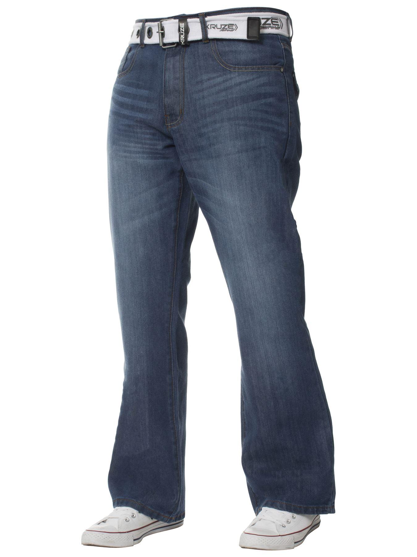Kruze-Herren-Bootcut-Jeans-Ausgestellt-Weites-Bein-Denim-Hose-Gross-Hoch-Koenig Indexbild 3