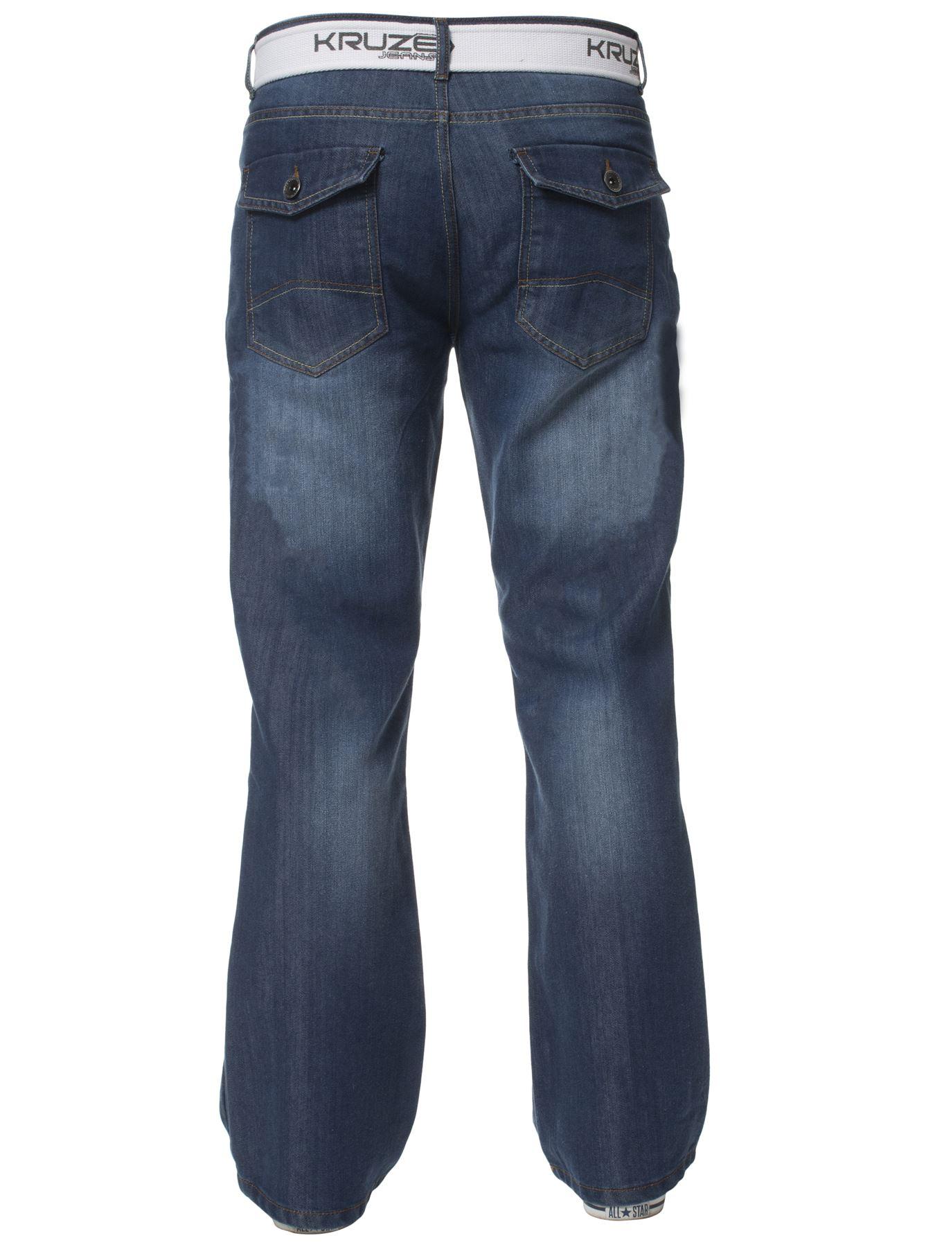 Kruze-Herren-Bootcut-Jeans-Ausgestellt-Weites-Bein-Denim-Hose-Gross-Hoch-Koenig Indexbild 7