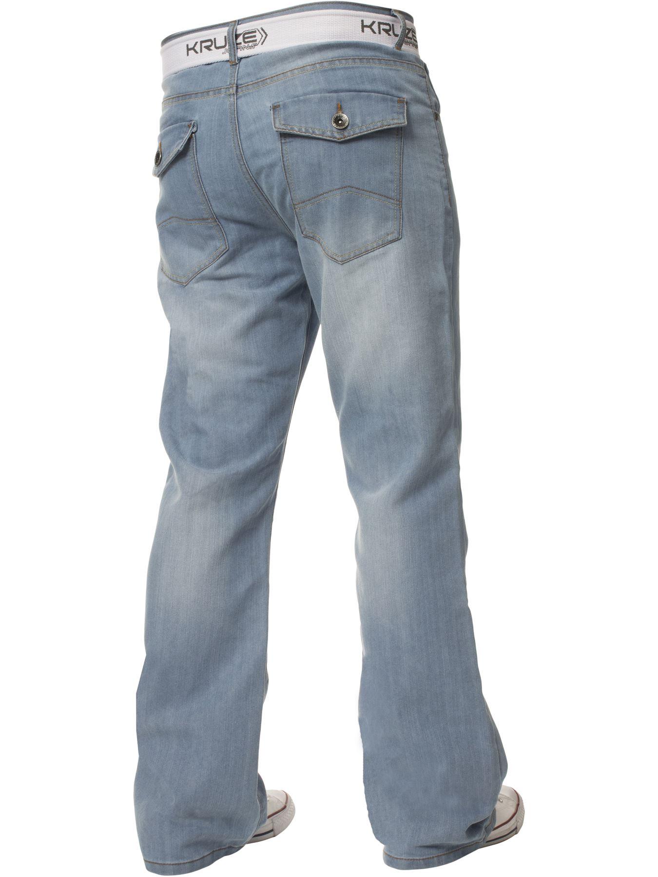 Kruze-Herren-Bootcut-Jeans-Ausgestellt-Weites-Bein-Denim-Hose-Gross-Hoch-Koenig Indexbild 11