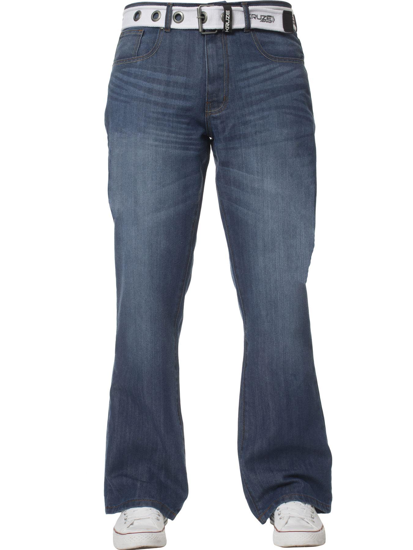 Kruze-Herren-Bootcut-Jeans-Ausgestellt-Weites-Bein-Denim-Hose-Gross-Hoch-Koenig Indexbild 6