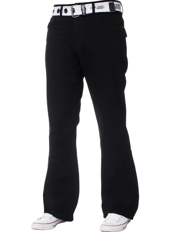 Kruze-Herren-Bootcut-Jeans-Ausgestellt-Weites-Bein-Denim-Hose-Gross-Hoch-Koenig Indexbild 21