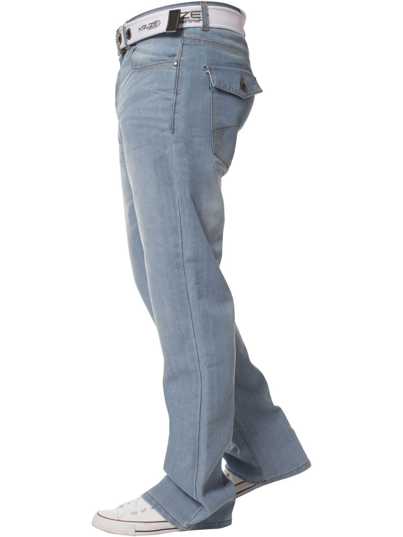 Kruze-Herren-Bootcut-Jeans-Ausgestellt-Weites-Bein-Denim-Hose-Gross-Hoch-Koenig Indexbild 10