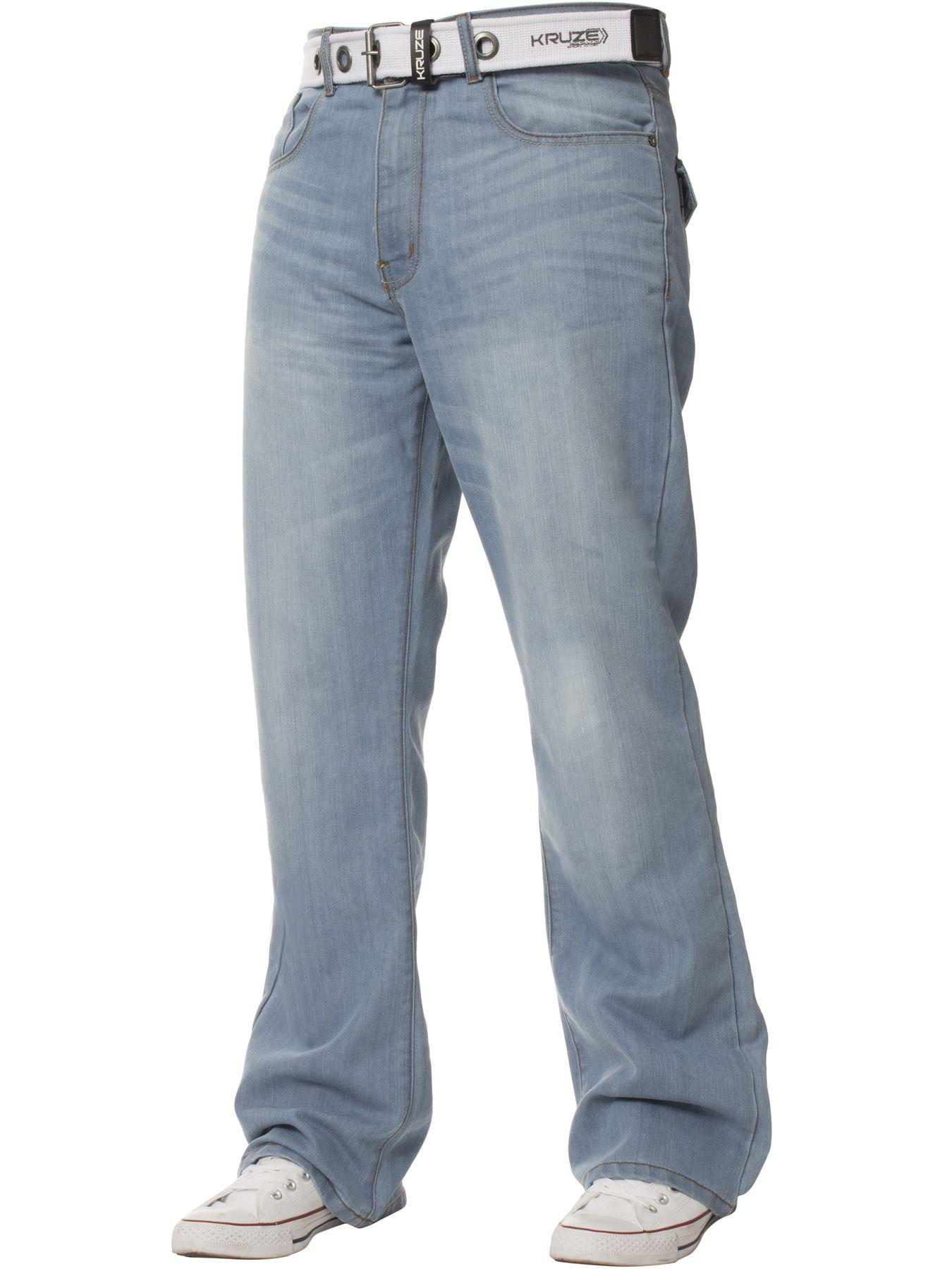 Kruze-Herren-Bootcut-Jeans-Ausgestellt-Weites-Bein-Denim-Hose-Gross-Hoch-Koenig Indexbild 9