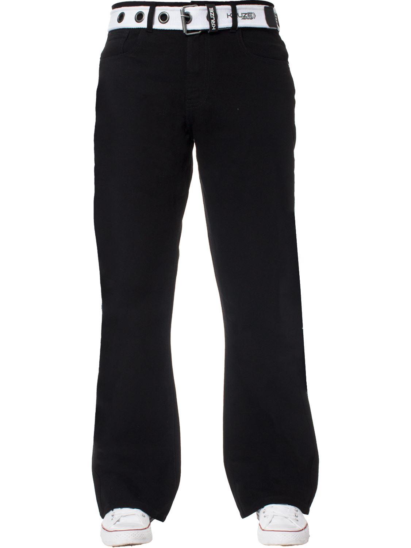 Kruze-Herren-Bootcut-Jeans-Ausgestellt-Weites-Bein-Denim-Hose-Gross-Hoch-Koenig Indexbild 24