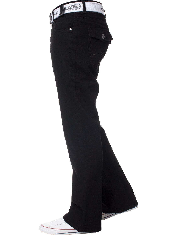 Kruze-Herren-Bootcut-Jeans-Ausgestellt-Weites-Bein-Denim-Hose-Gross-Hoch-Koenig Indexbild 22