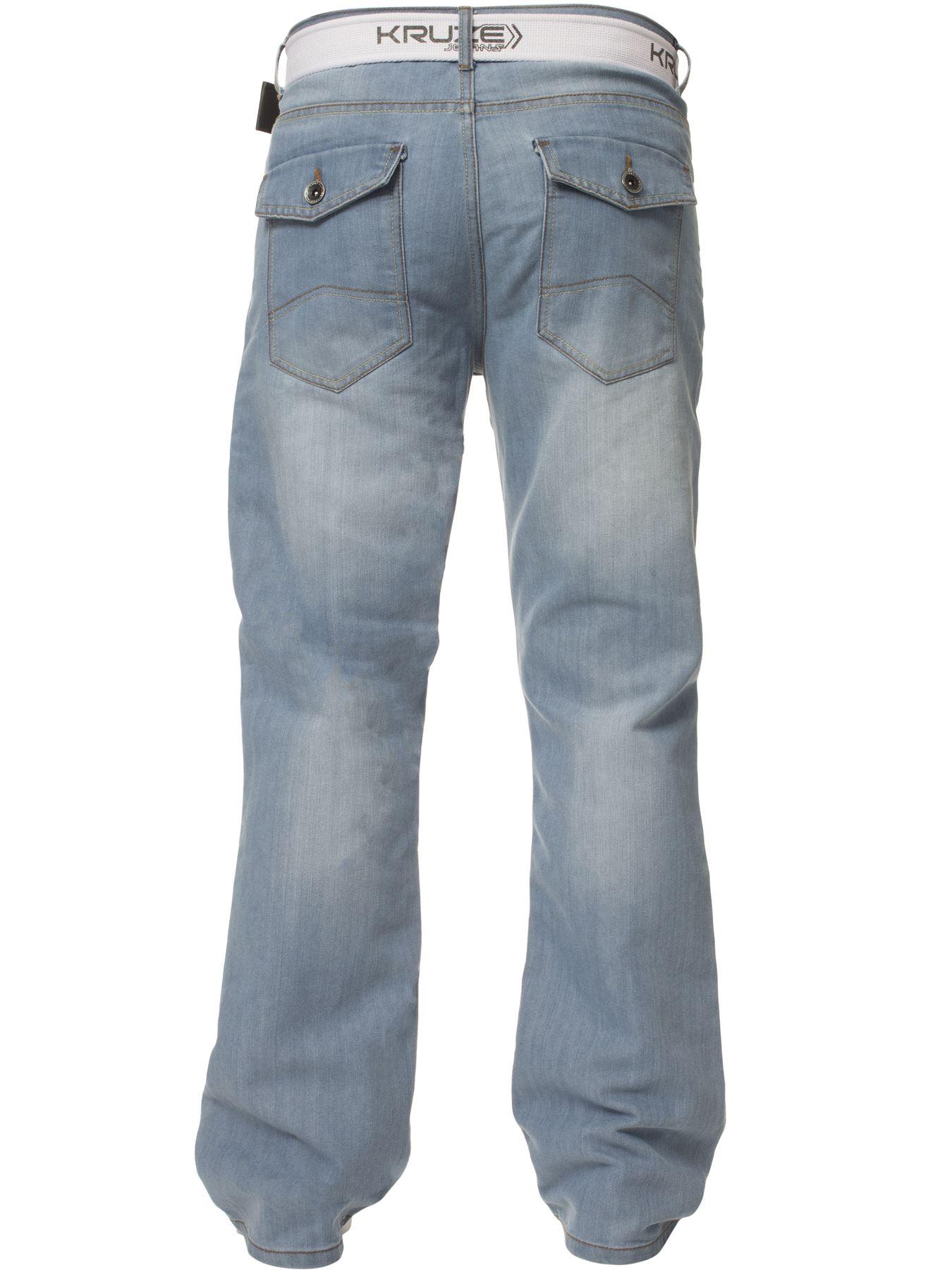 Kruze-Herren-Bootcut-Jeans-Ausgestellt-Weites-Bein-Denim-Hose-Gross-Hoch-Koenig Indexbild 13