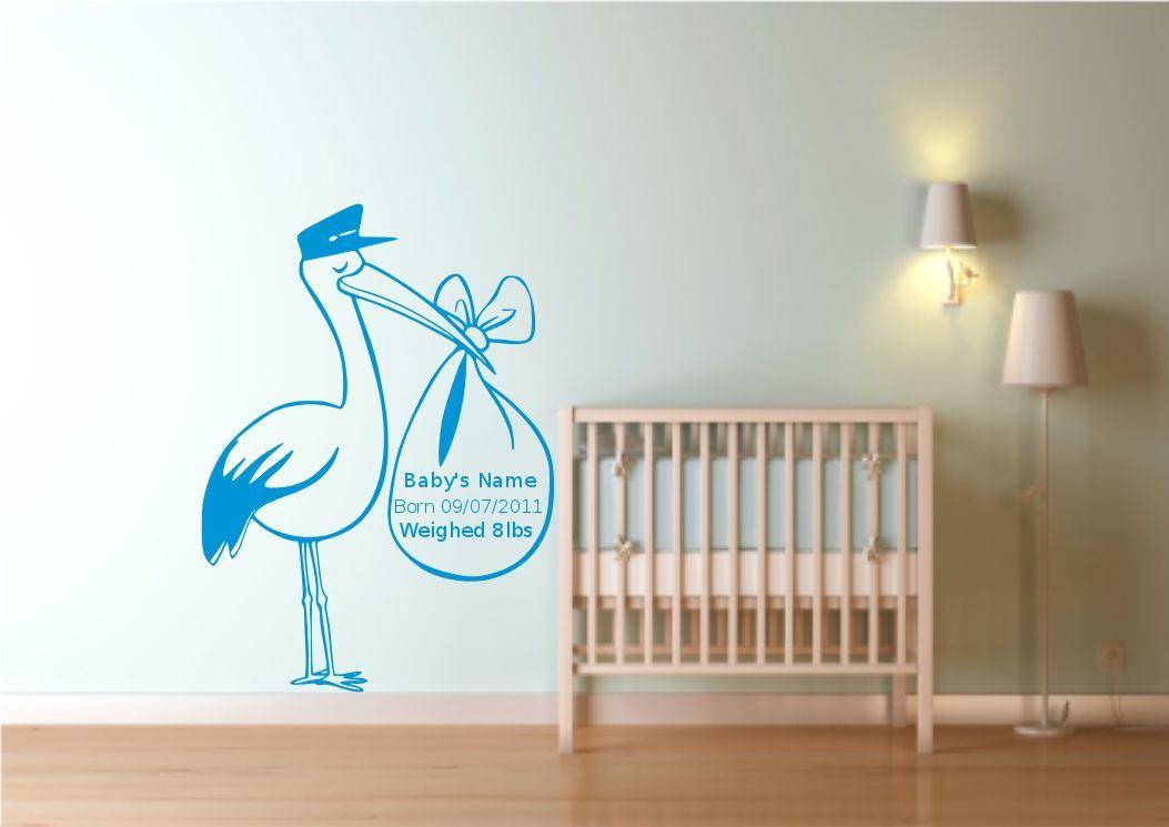 Personalizado reci n nacido beb cig e a pegatina para for Mural pared personalizado