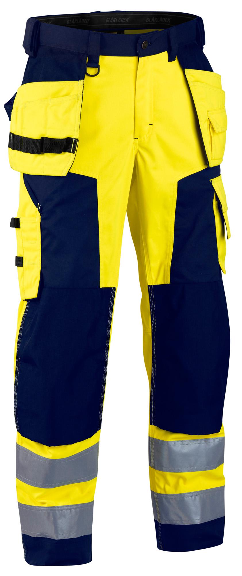 BLAKLADER Hi Vis pantaloni IDROREPELLENTE Ginocchiera & Unghie TASCHE (Polycot)