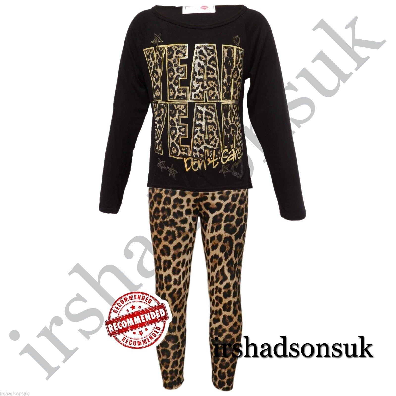 NEW-nina-cara-de-tigre-Brillo-Impresion-multicolor-Top-Camiseta-amp-Leopardo