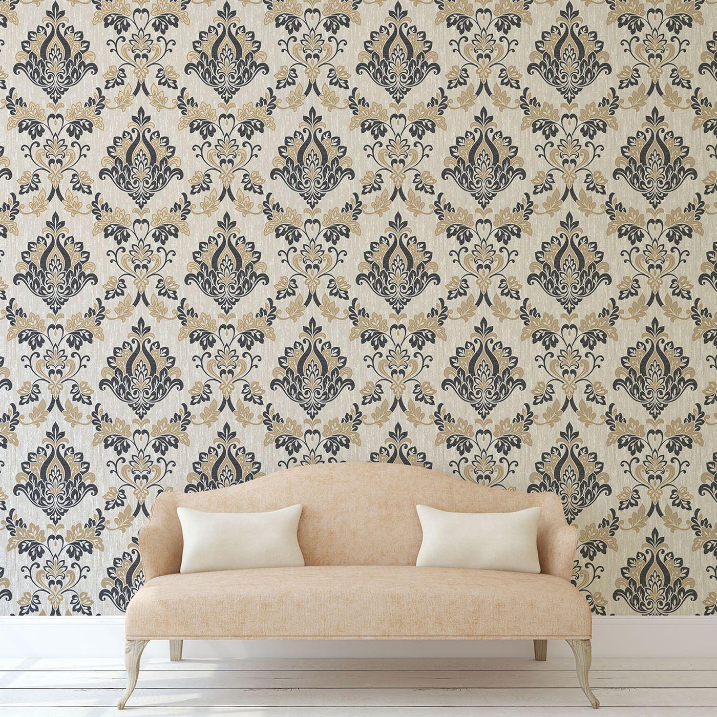 vymura synergie schwarz gold glitter tapete streifen blumenmuster damast uni ebay. Black Bedroom Furniture Sets. Home Design Ideas