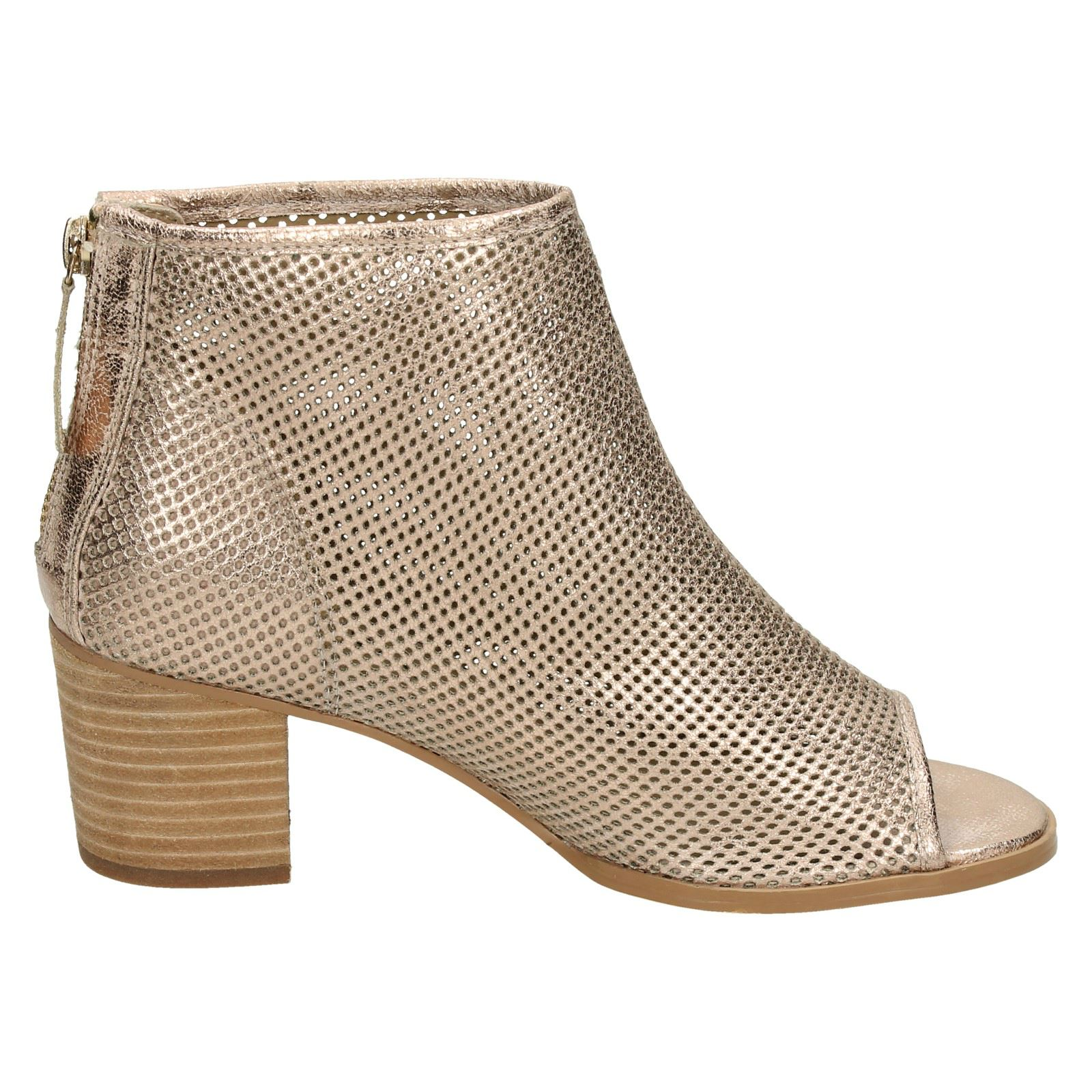Ladies Savannah Synthetic Zip Up Peep Toe Perforated Ankle Boots