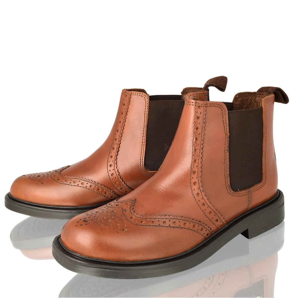 Boys Real Leather Chelsea Dealer Tan Brogue Ankle Boots Kids Shoes