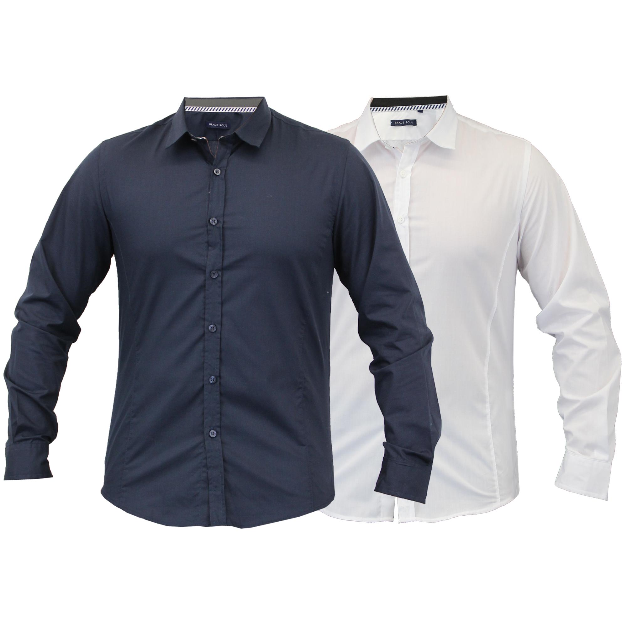 5256e7fb033 Mens Long Sleeved Collared Shirt by Brave Soul White - 69tudor S for ...