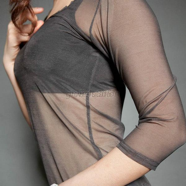donna-sexy-trasparente-girocollo-manica-lunga-trasparente-Mesh-Spiaggia-T-Shirt