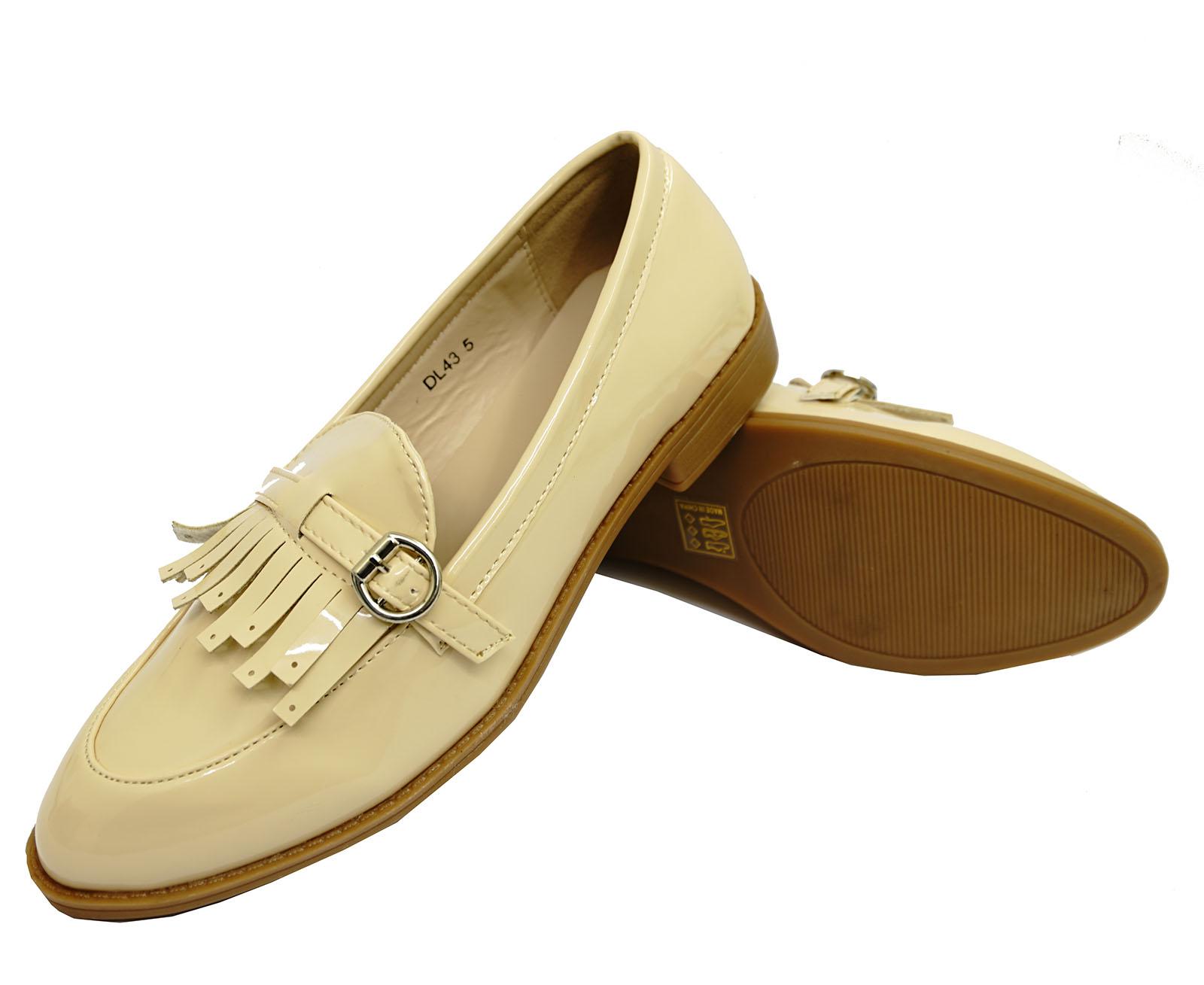 mujer-beis-Holgazanes-mocasin-casual-elegante-trabajo-Comodo-Zapato-plano-GB