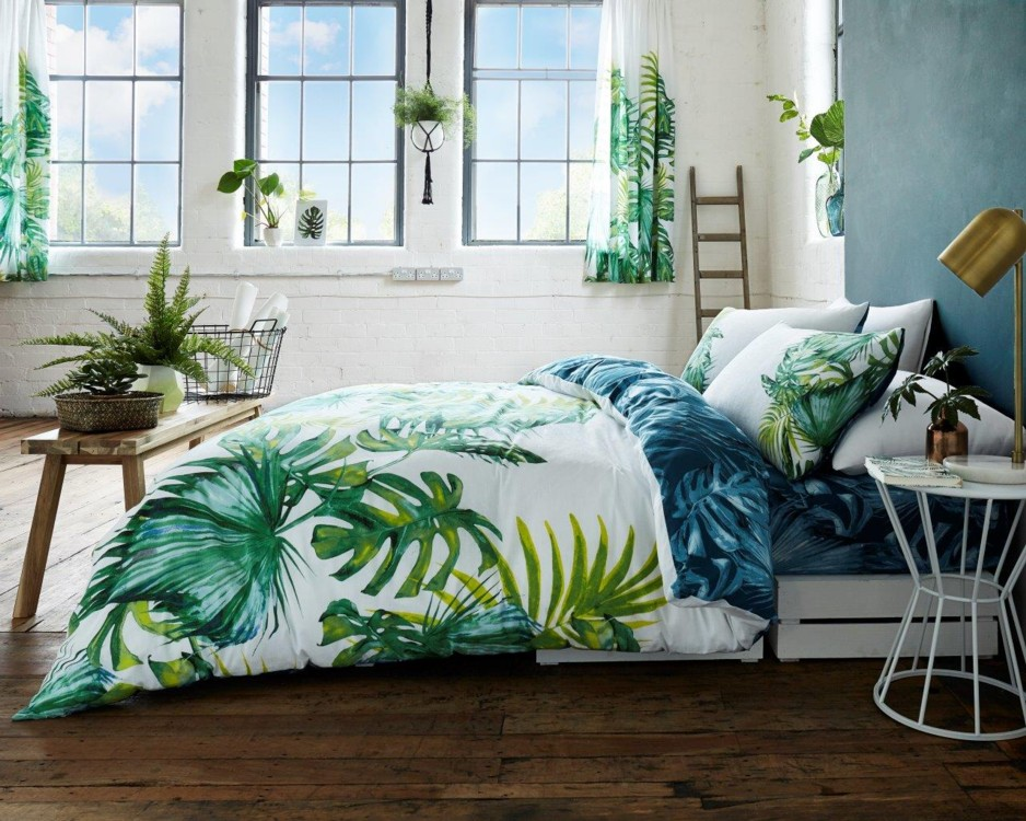 tropical feuille botanique floral moderne housse de couette literie couette set ebay. Black Bedroom Furniture Sets. Home Design Ideas