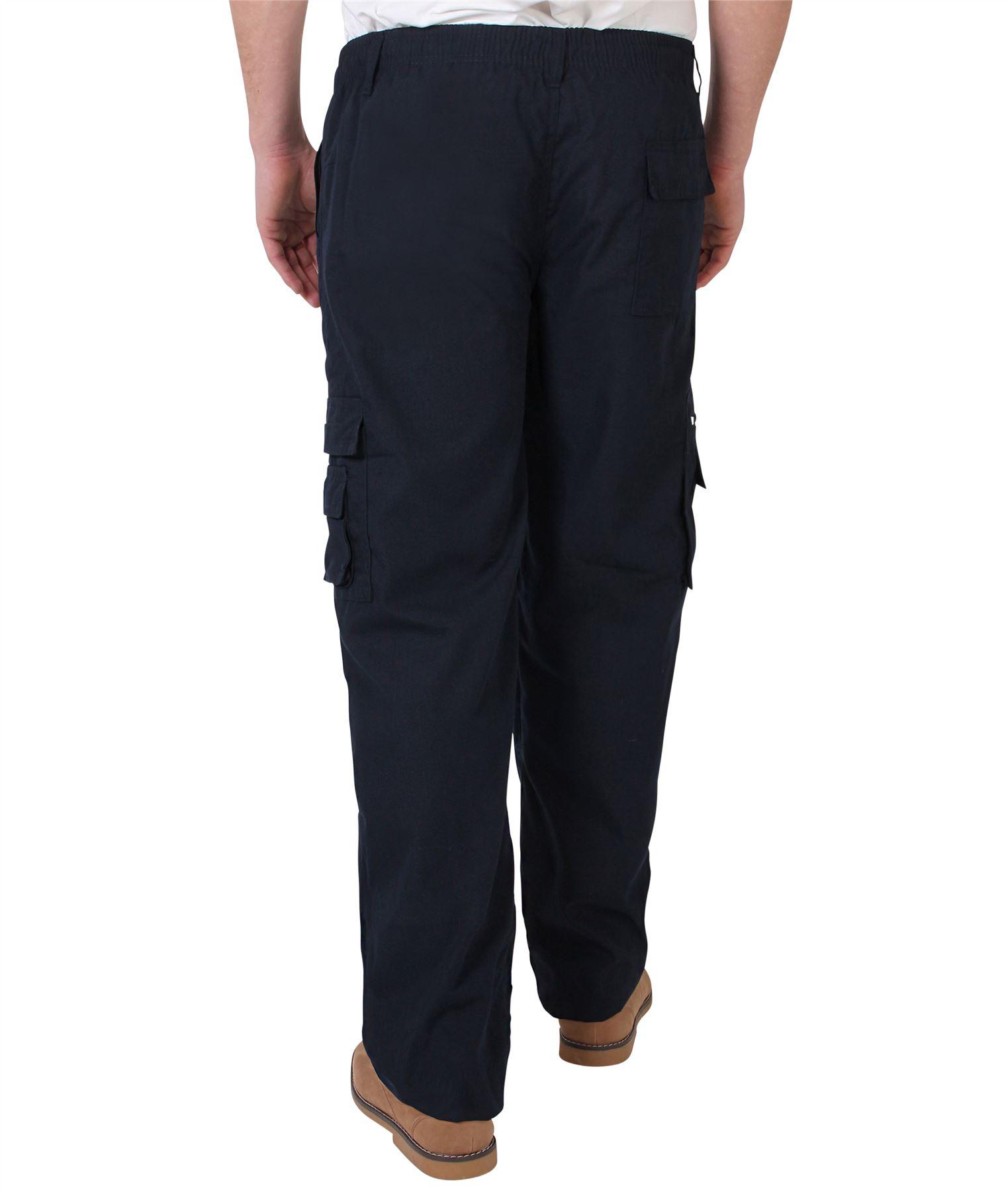 Uomo-Militare-Cargo-Pantaloni-Cotone-Lavoro-Chino-Casual-Kaki miniatura 28