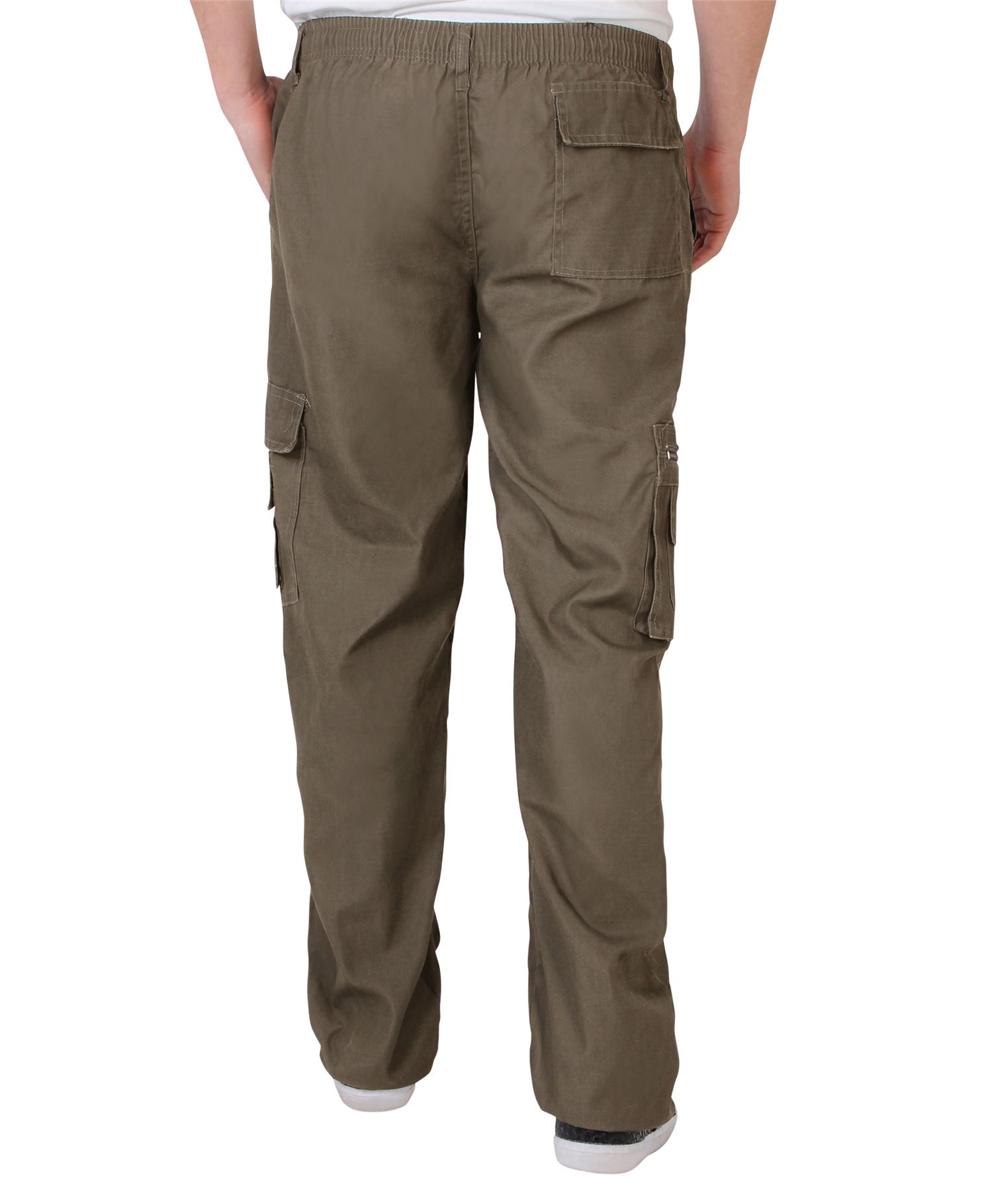 Uomo-Militare-Cargo-Pantaloni-Cotone-Lavoro-Chino-Casual-Kaki miniatura 34