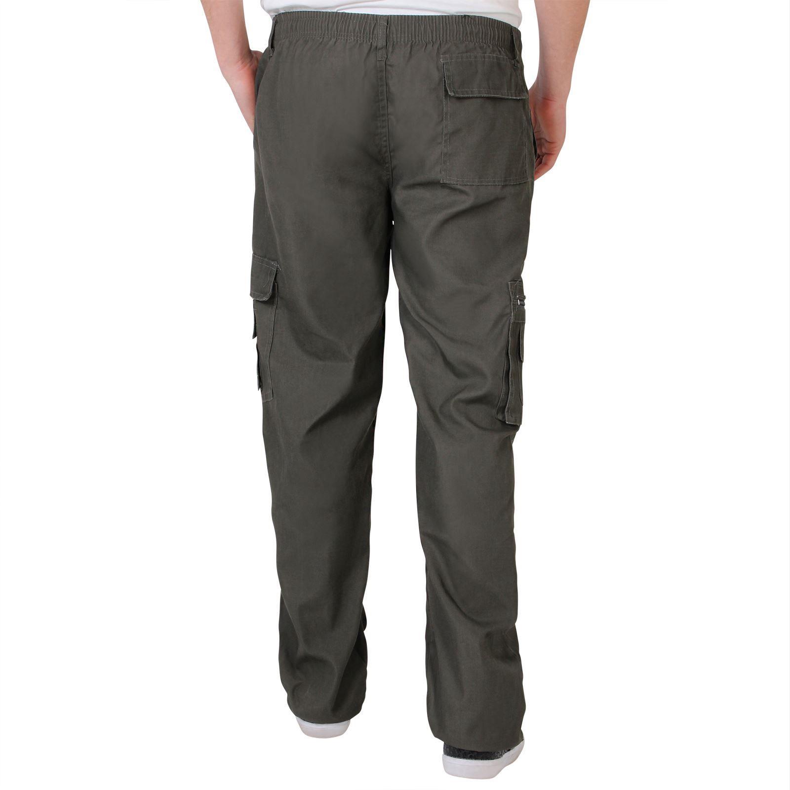 Uomo-Militare-Cargo-Pantaloni-Cotone-Lavoro-Chino-Casual-Kaki miniatura 9
